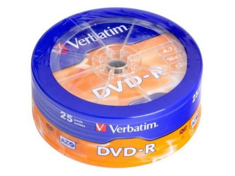 Диск DVD-R 4.7Gb Verbatim 16x Shrink/25 43730