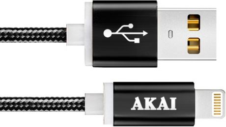 Дата-кабель Akai CE-604B USB 2.0 - 8-pin Apple Lighting Black