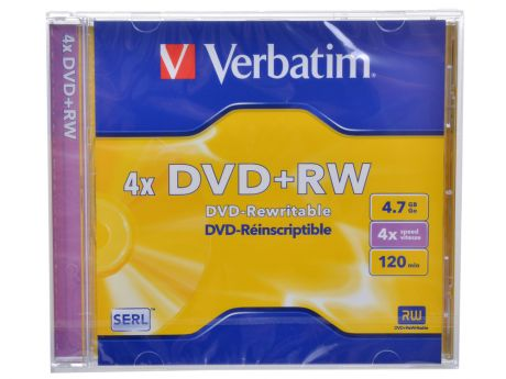 Диск DVD+RW Verbatim 4.7Gb (43229) 4x DataLife+ Jewel Case