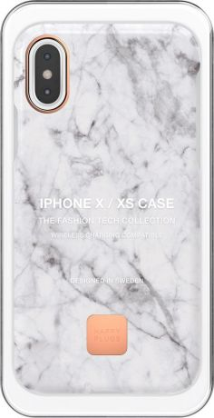 Клип-кейс Happy Plugs для Apple iPhone XS White Marble (белый мрамор)