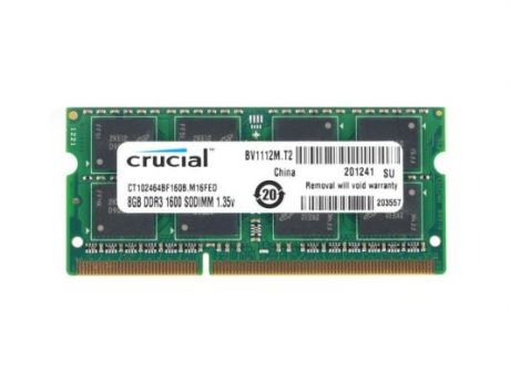 Оперативная память SO-DIMM DDR3 Crucial 8Gb (pc-12800) 1600MHz <Retail> (CT102464BF160B)