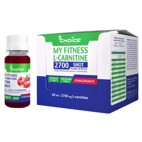 Напиток MyChoice My Fitness L-Carnitine 2700 Shot (шоубокс, 9x60 мл) гранат