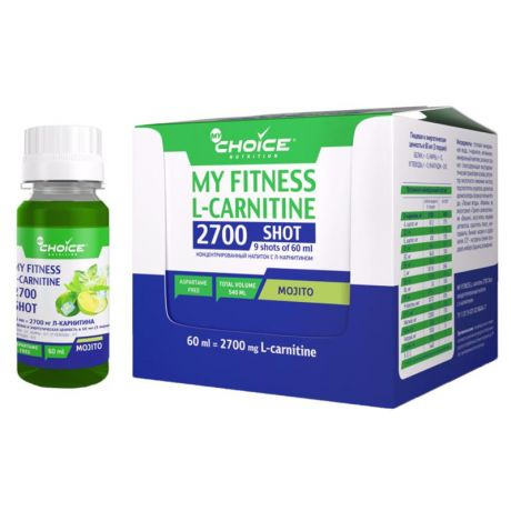 Напиток MyChoice My Fitness L-Carnitine 2700 Shot (шоубокс, 9x60 мл) мохито