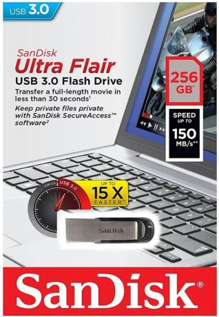 USB флешка SanDisk Cruzer Ultra Flair 256Gb USB 3.0 (серебристо-черный)
