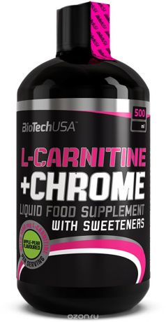 L-карнитин BioTech L-Carnitine+Chrome, груша-яблоко, 500 мл