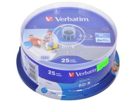 BD-R Verbatim 25GB 6x 25шт CakeBox Full Ink Print