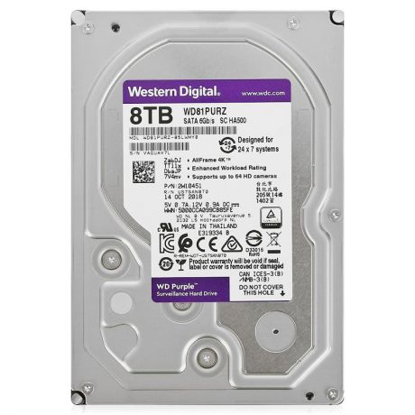 жесткий диск HDD 8ТБ, Western Digital Purple, WD81PURZ