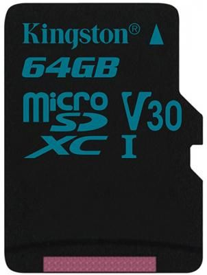 Карта памяти MicroSDXC 64GB Kingston Class UHS-I U3 V30 Canvas Go [SDCG2/64GBSP]
