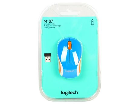 Мышь (910-002733) Logitech Wireless Mini Mouse M187, Blue NEW